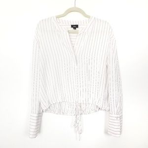 🍁 Mossimo | Pinstripe Cropped Peasant Blouse
